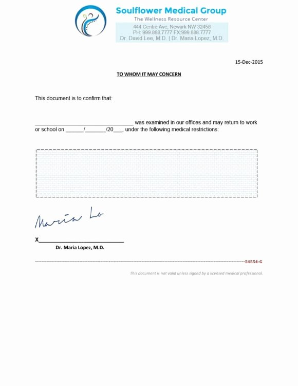 Doctors Note for Work Template Lovely 40 Fake Doctors Note Template Download [pdf Doc]