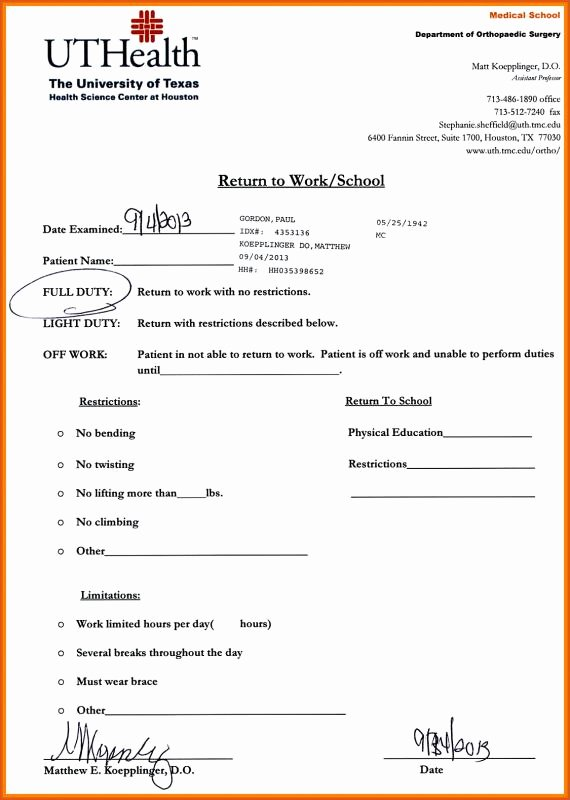 Doctors Note for Work Template Lovely Urgent Care Doctors Note Template