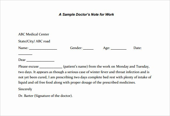 Doctors Note for Work Template New 22 Doctors Note Templates Free Sample Example format