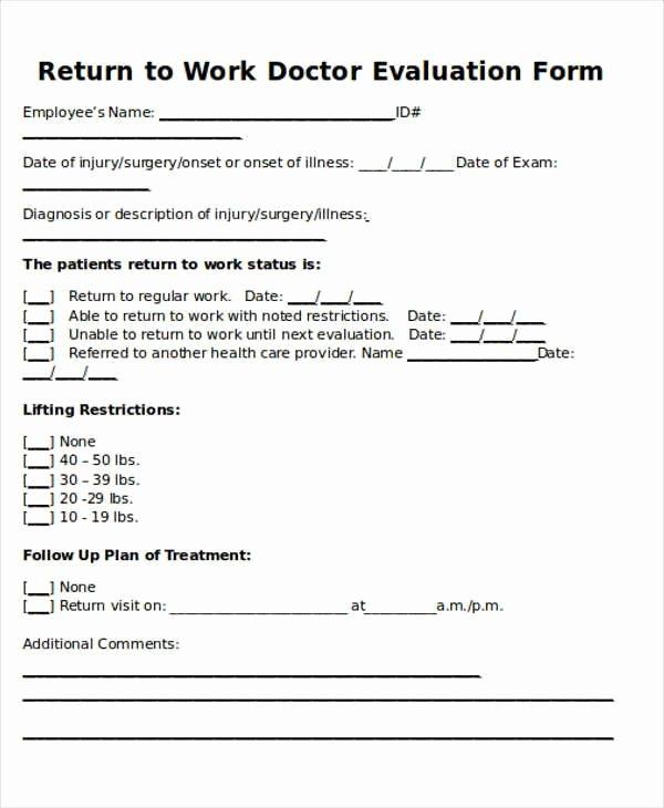 Doctors Note Template for Work Elegant Return to Work Doctors Note Template toma Daretodonate