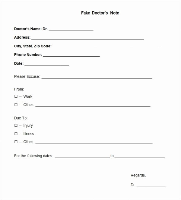Doctors Note Template for Work New 22 Doctors Note Templates Free Sample Example format