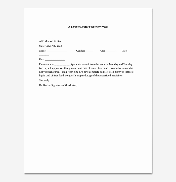 Doctors Note Template for Work New Doctors Note Template 7 Fillable Notes for Word & Pdf
