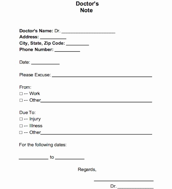 Doctors Note Template Free Awesome 25 Free Doctor Note Excuse Templates Template Lab