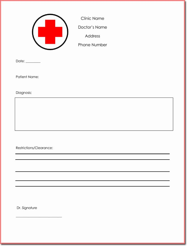 Doctors Note Template Free New Doctor S Note Templates 28 Blank formats to Create