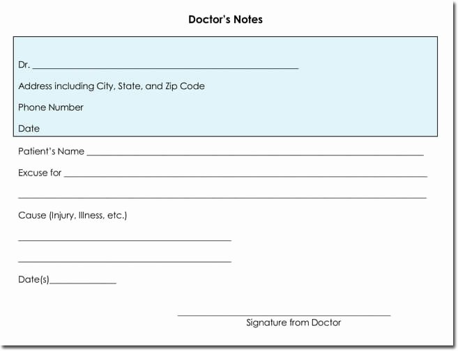 Doctors Note Template Microsoft Word Elegant Doctor S Note Templates 28 Blank formats to Create