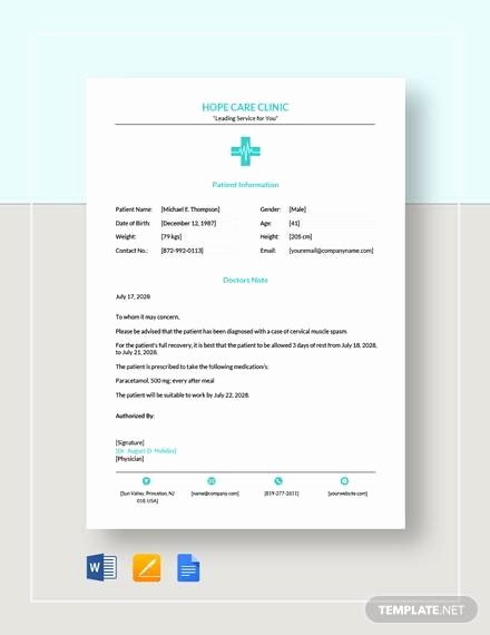 Doctors Note Template Microsoft Word Elegant Sample Doctors Note 11 Documents In Word Pdf