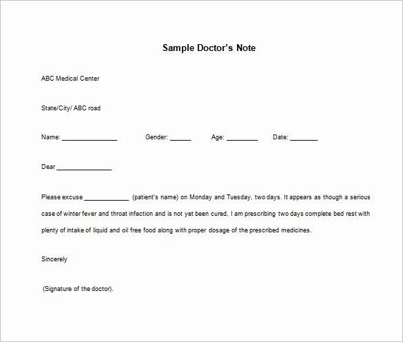 Doctors Note Template Microsoft Word Lovely 15 Doctors Note Templates Pdf Docs Word