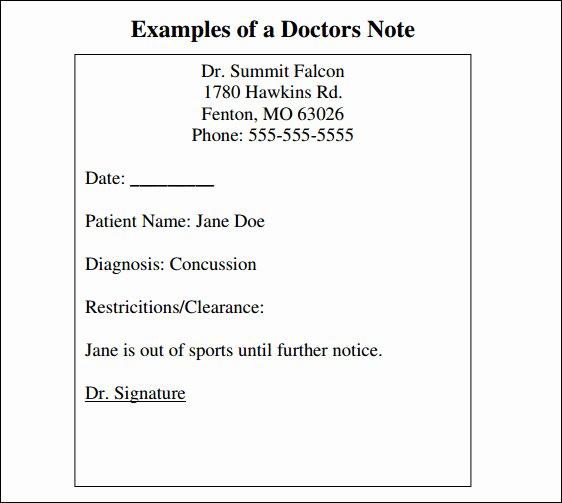 Doctors Note Template Pdf Beautiful Free 33 Doctors Note Samples In Google Docs Pdf