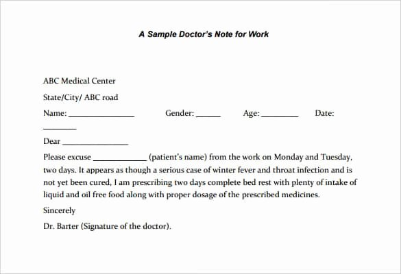 Doctors Note Template Pdf Lovely 4 Printable Doctor S Note for Work Templates Pdf Word