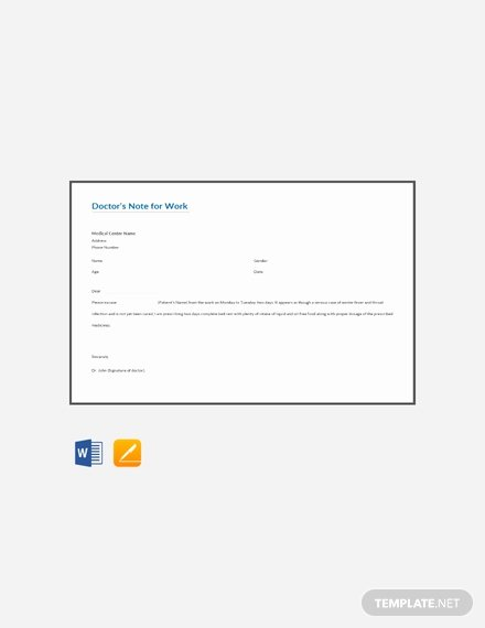 Doctors Note Template Word Luxury Doctors Note for Work Template Download 53 Notes In Word