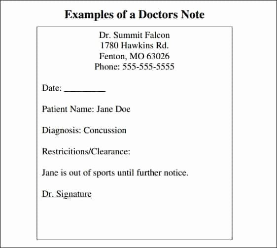 Doctors Note Template Word New 9 Doctor Note Templates Word Excel Pdf formats