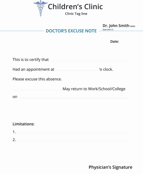 Doctors Notes for School Template Elegant 34 Doctors Note Samples – Pdf Word Pages Portable