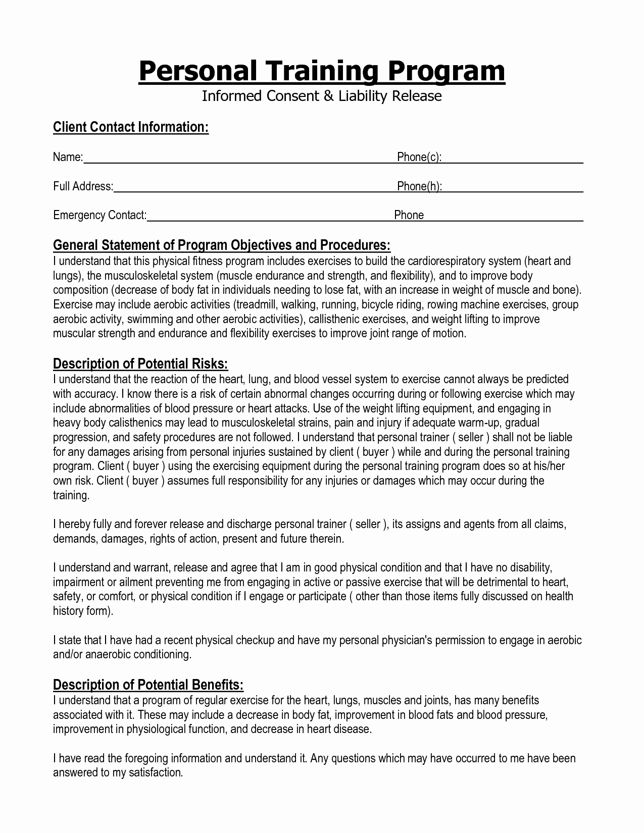 Dog Training Contract Template Awesome Informed Consent form Personal Training Google Search