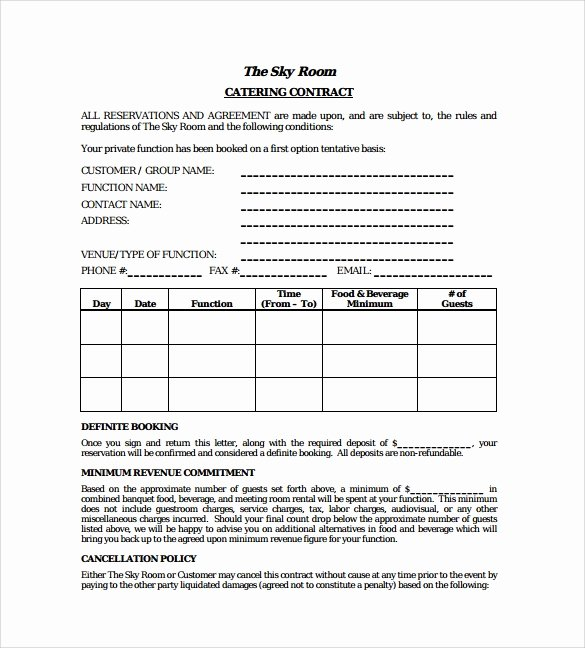 Dog Training Contract Template Beautiful Free 13 Sample Catering Contract Templates In Pdf