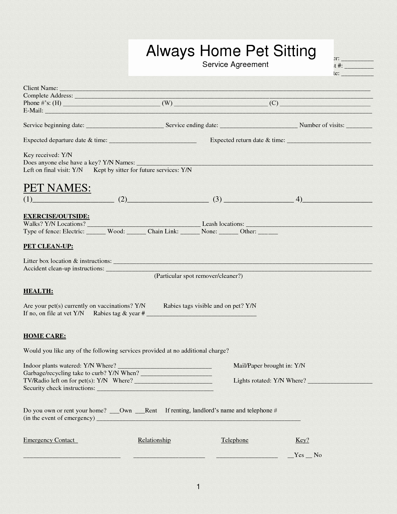 Dog Training Contract Template Elegant Pet Sitting Template Google Search