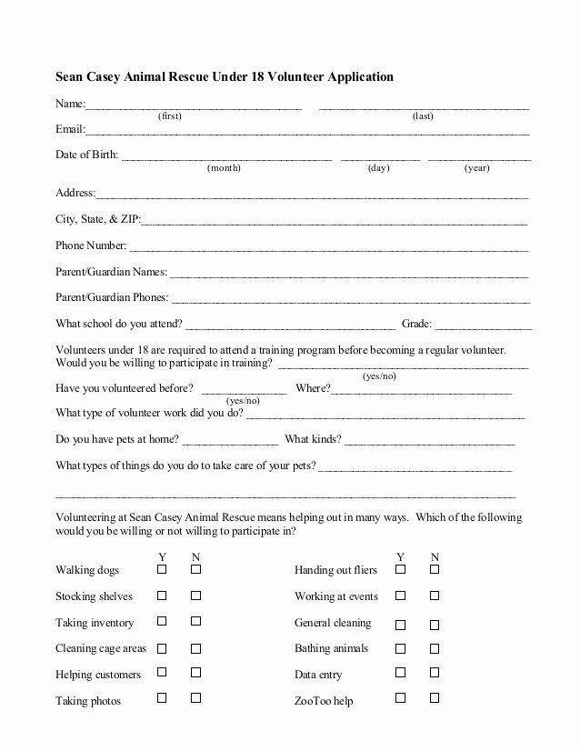 Dog Training Contract Template Inspirational Minor Under 18 Volunteer Application