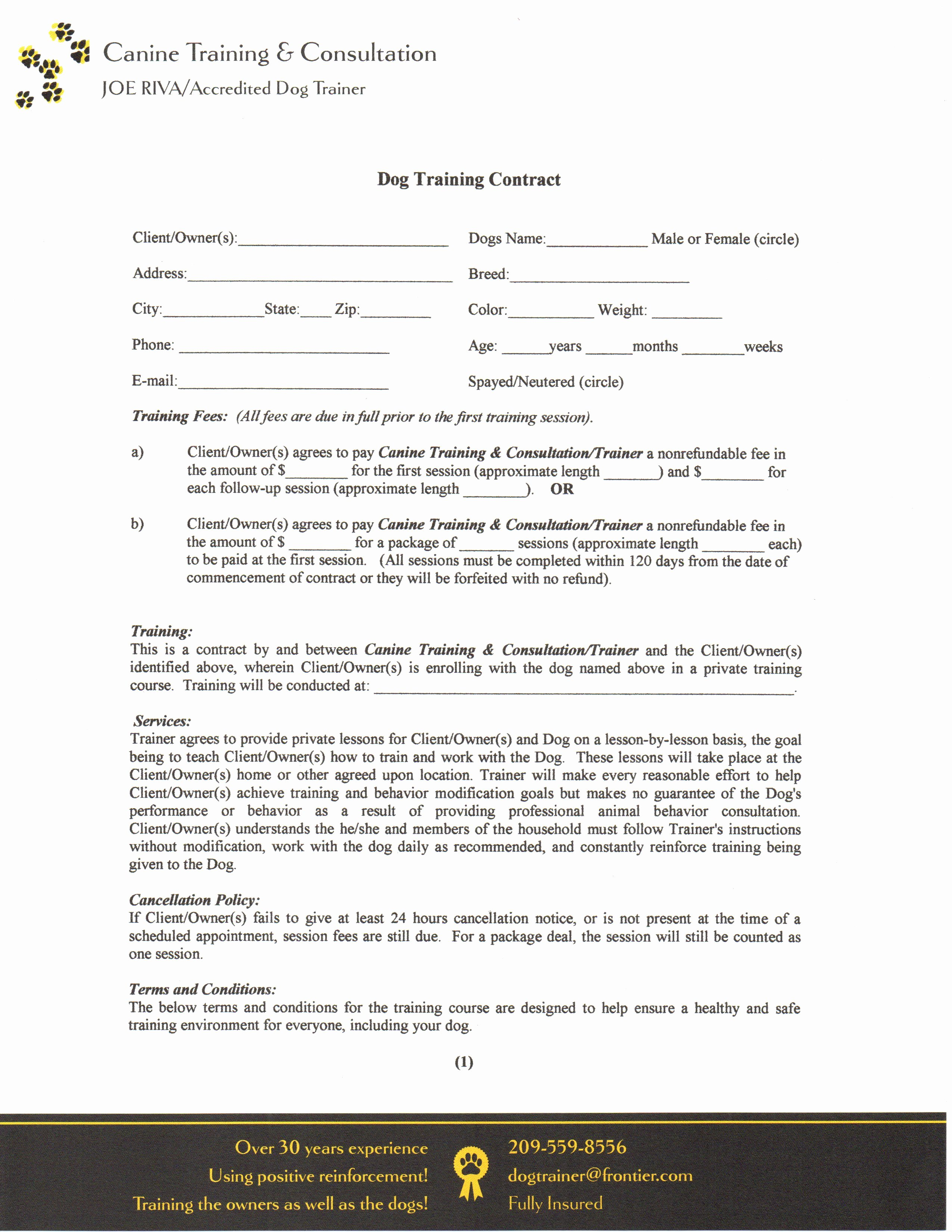 Dog Training Contract Template Luxury Contract