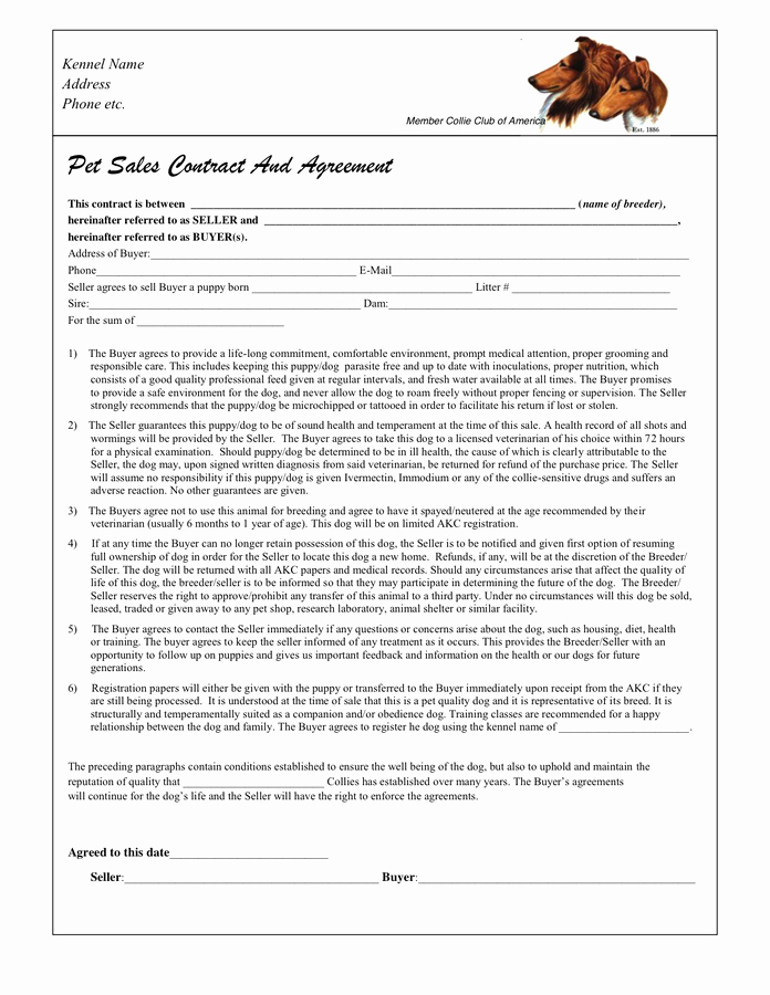Dog Training Contract Template New Puppy Sales Contract In Word and Pdf formats