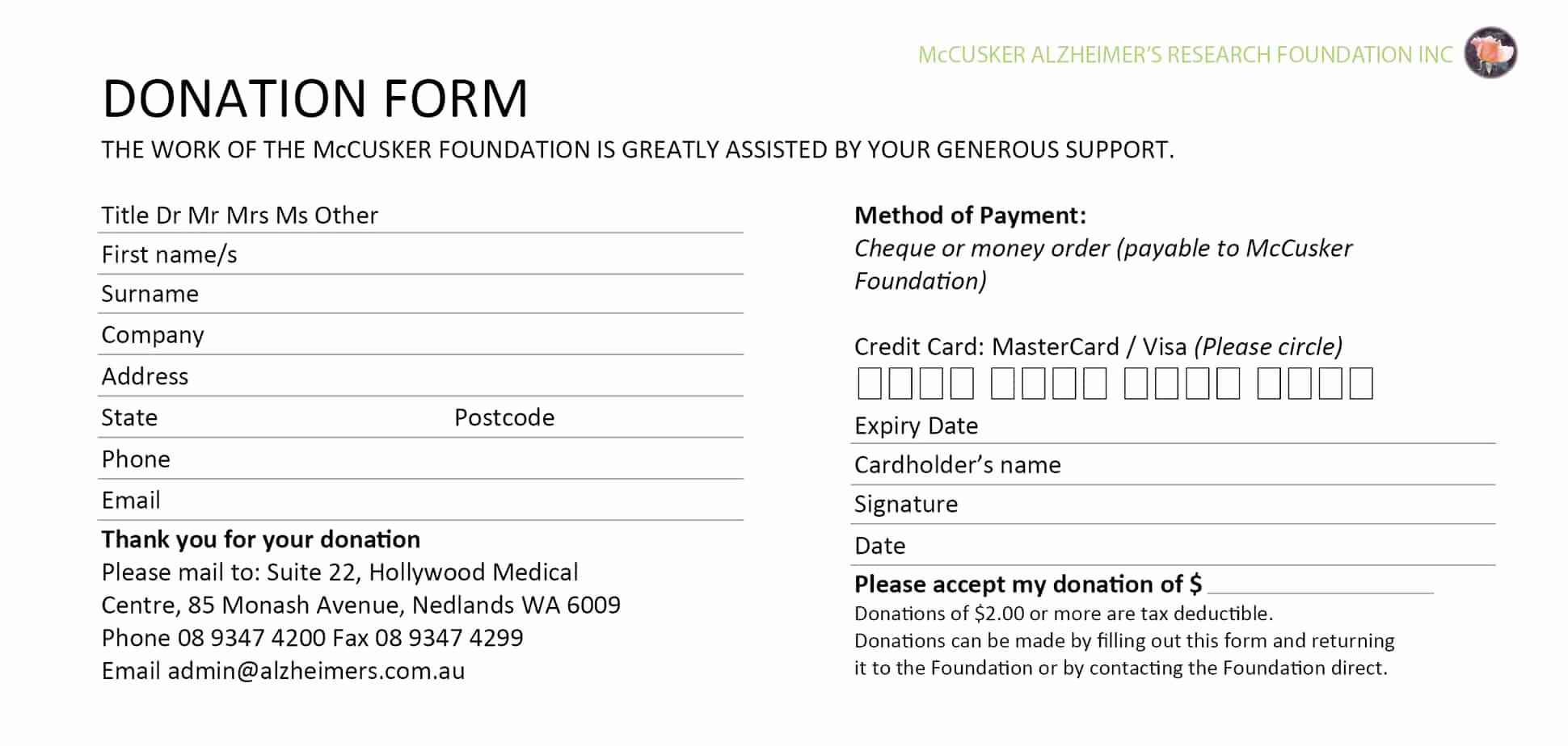 Donation form Template Pdf Awesome 6 Donation form Templates Excel Pdf formats