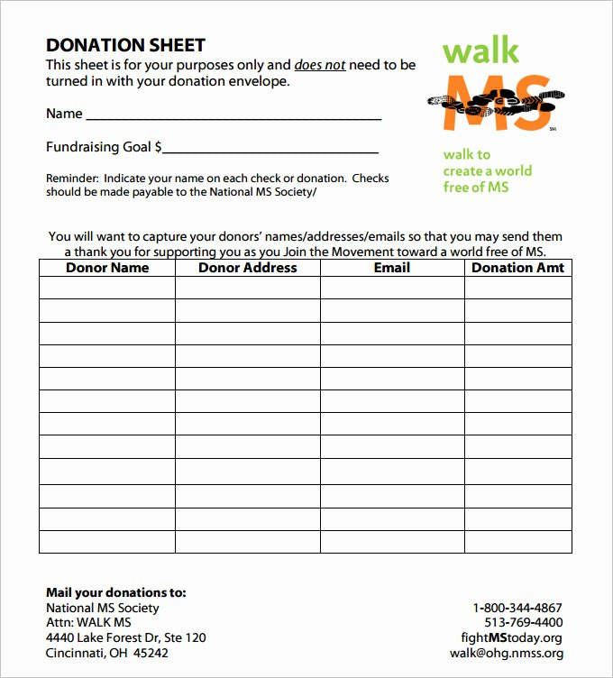 Donation form Template Pdf Beautiful Donation Sheet Template 9 Free Pdf Documents Download