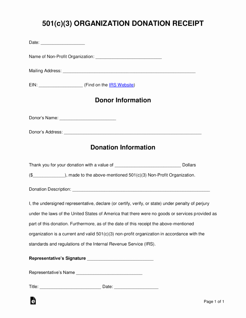 Donation form Template Pdf Fresh Free 501 C 3 Donation Receipt Template Sample Pdf