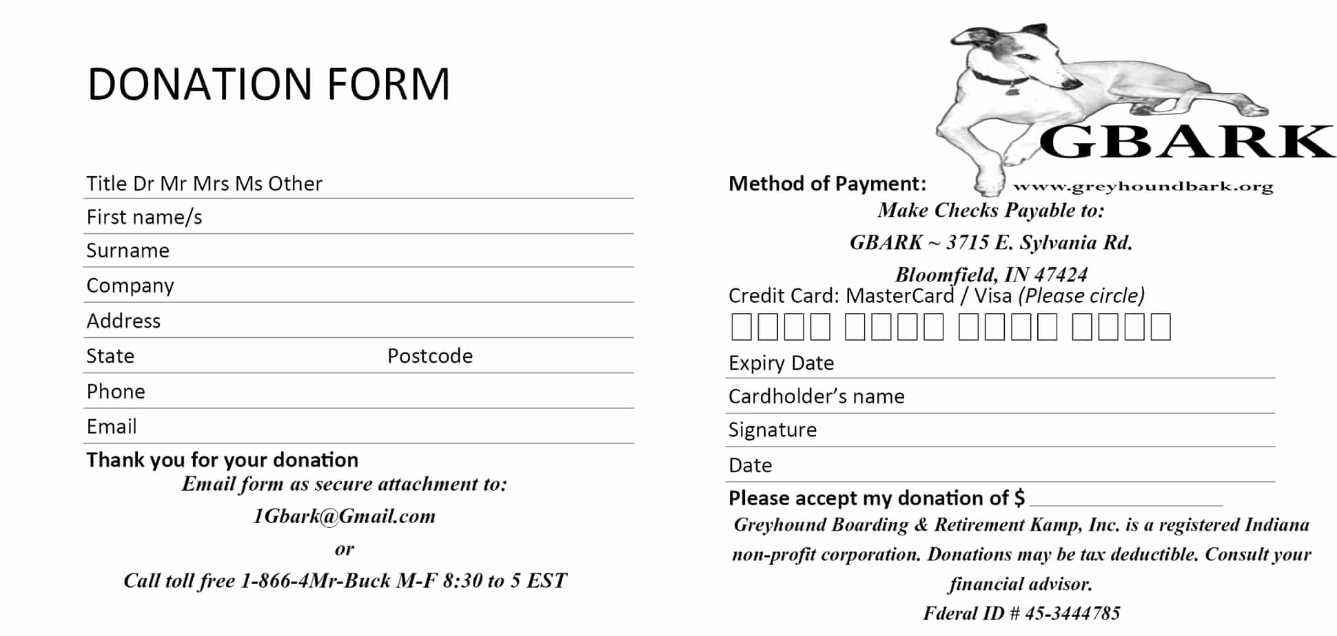 Donation form Template Word Lovely 6 Donation form Templates Excel Pdf formats