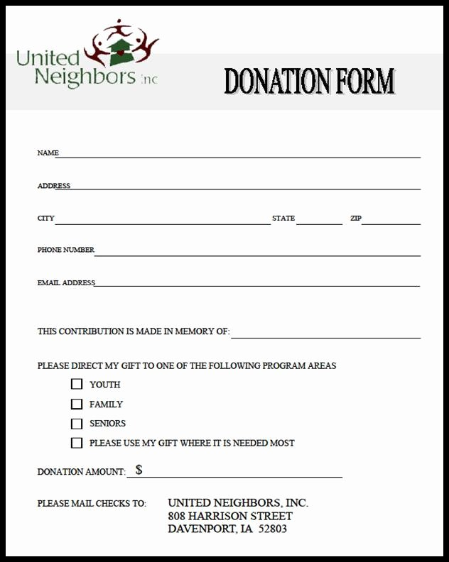 Donation form Template Word Lovely Generic Donation form Picture – Donation form Template