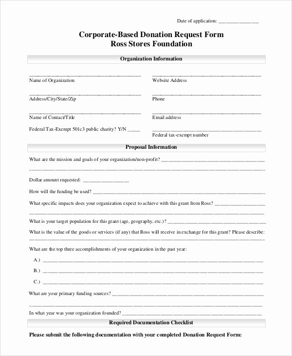 Donation form Template Word Unique 10 Sample Donation Request forms Pdf Word Sample
