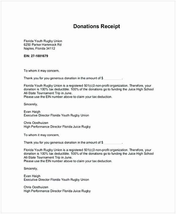 Donation Receipt Letter Template Inspirational Donation Receipt Letter