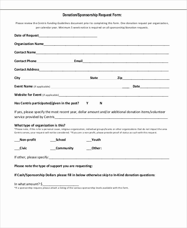 Donation Request form Template Fresh Sample Sponsorship Request form 9 Examples In Word Pdf