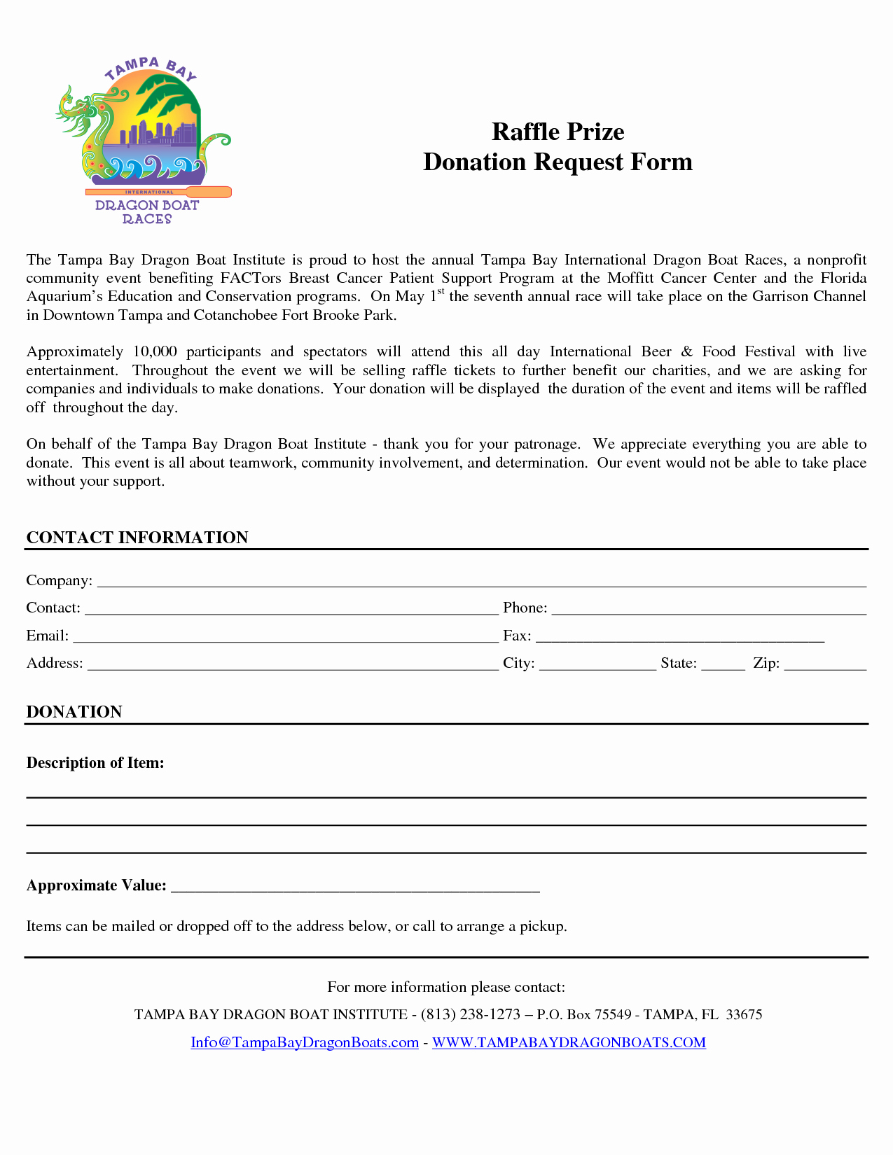 Donation Request forms Template Elegant Raffle Prize Donation Request form by Ttn