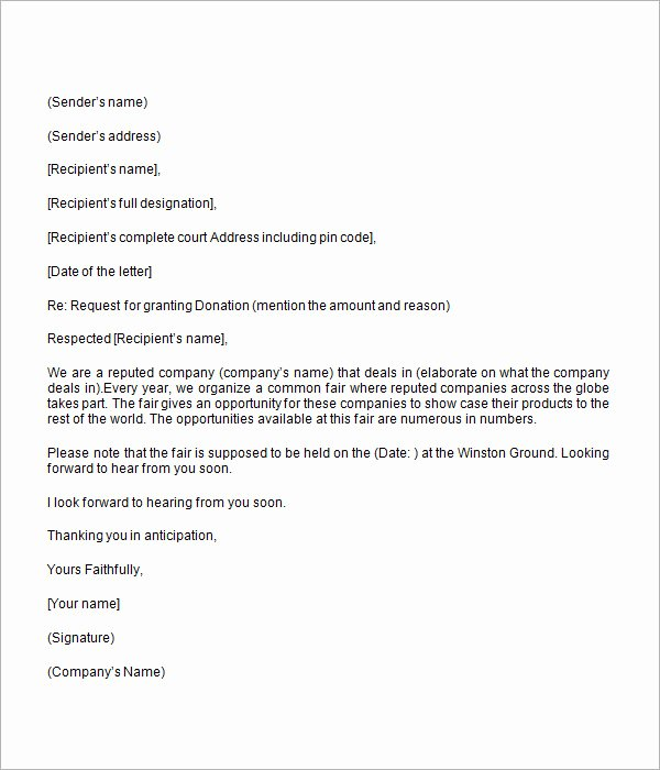 Donation Request forms Template Luxury Donation Request Letter 8 Free Download for Word