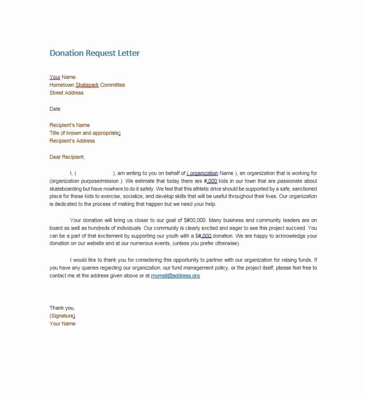 Donation Request Letter Template Fresh 43 Free Donation Request Letters & forms Template Lab
