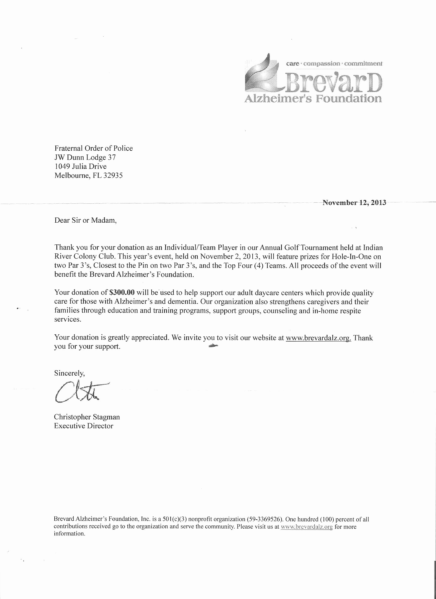 Donation Thank You Letter Template Awesome Golf tournament Donation Letter Template Samples