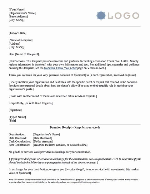 Donation Thank You Letter Template Best Of Download the Donation Thank You Letter From Vertex42