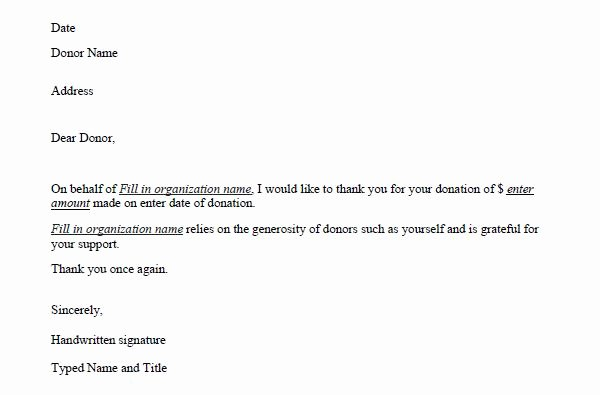 Donation Thank You Letter Template Fresh Donation Thank You Letter Template