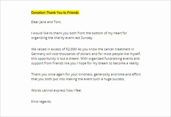 sample donor thank you letter