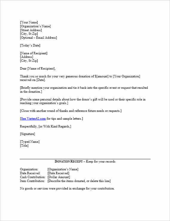 Donation Thank You Letter Template New Free Donation Thank You Letter Template