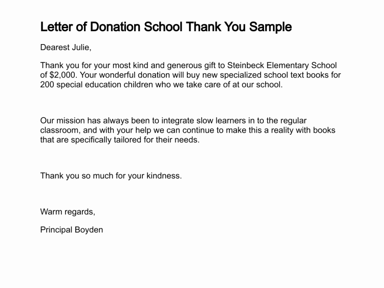 Donation Thank You Letter Templates Beautiful Sample Donation Thank You Letter