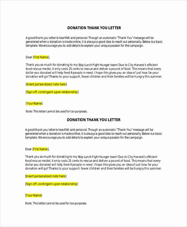 Donation Thank You Letter Templates Lovely Sample Donation Thank You Letter 7 Documents In Pdf Word