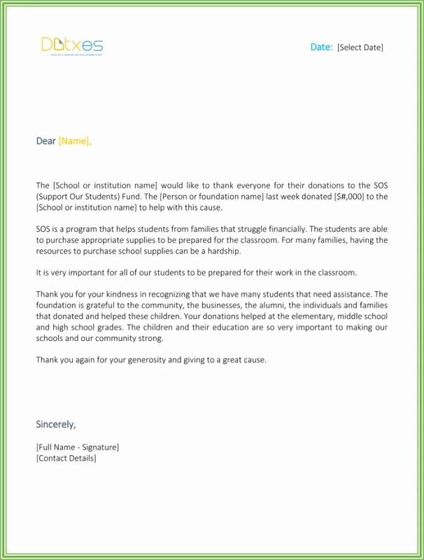 Donation Thank You Letters Templates Unique Sample Donation Thank You Letter