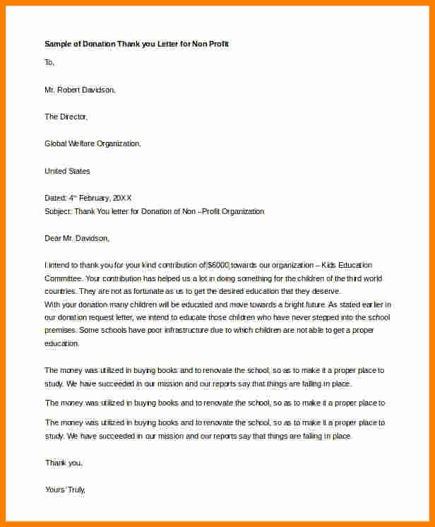 Donor Thank You Letter Template Best Of 8 Donation Thank You Letter Sample