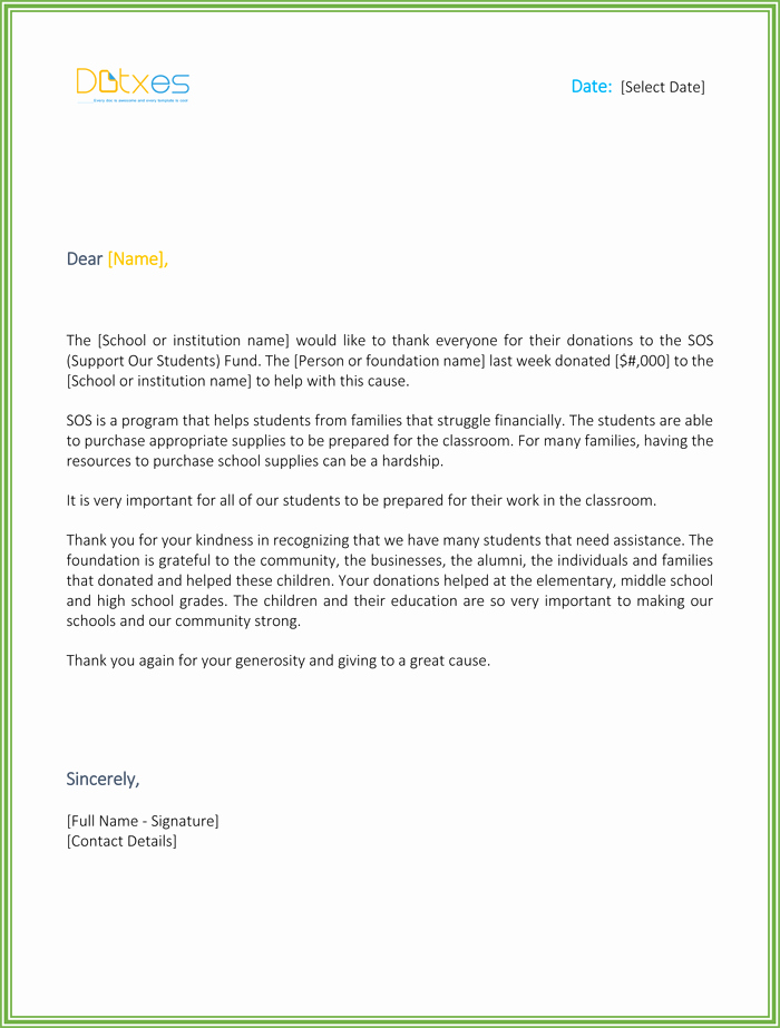 Donor Thank You Letter Template Elegant 4 Thank You Letters for Donation to Appreciate Your