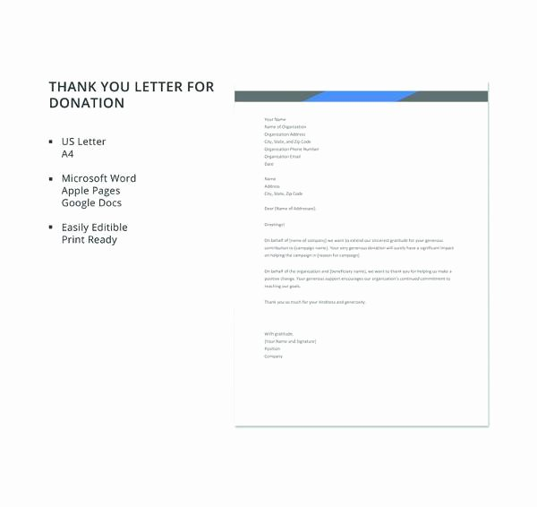 Donor Thank You Letter Template Inspirational 9 Thank You Letters for Donation Samples – Pdf Doc