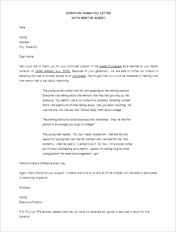 Donor Thank You Letter Template Inspirational Donor Thank You Letter Template – 10 Free Word Excel