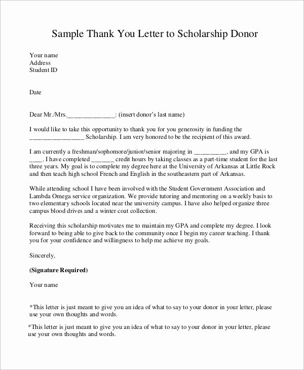 Donor Thank You Letter Template Unique Sample Scholarship Thank You Letter 8 Examples In Word Pdf