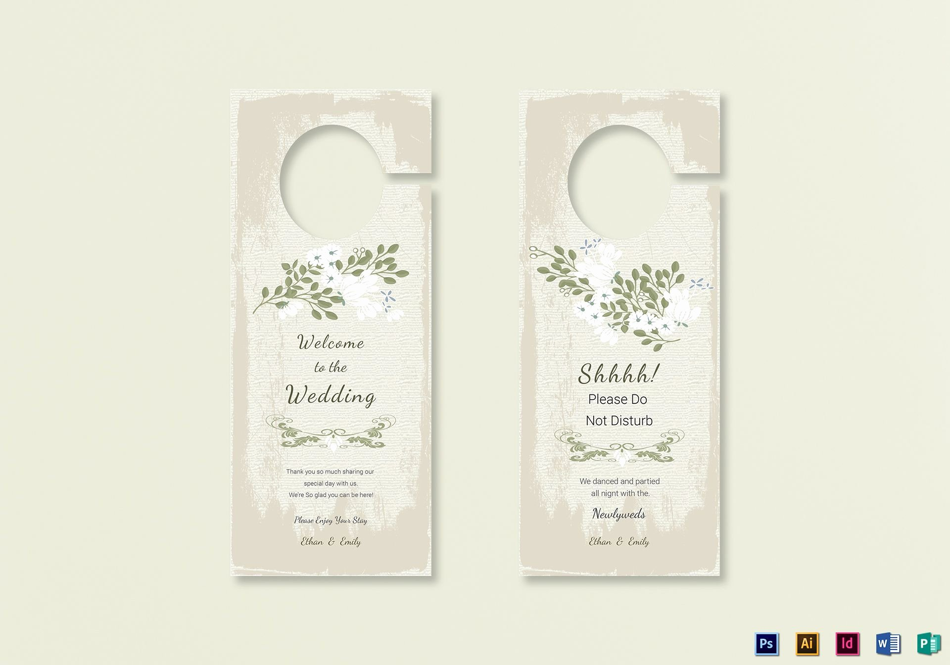 Door Hanger Template Psd Elegant Vintage Wedding Door Hanger Template In Psd Word