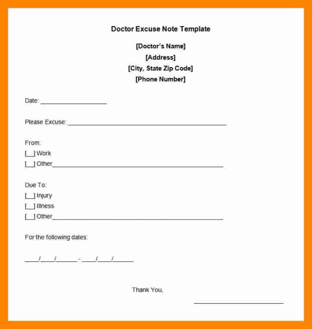 Dr Note Template for Work Elegant Free Printable Doctors Excuse for Work