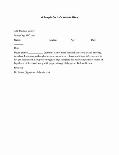 Dr Note Template for Work Fresh Doctors Note for Work Template Download Create Fill and
