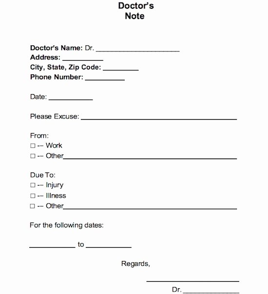 Dr Notes for Work Template Awesome Fake Doctors Note for Work